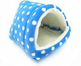 WowowMeow Small Animals House Polka Dot Warm Fleece Cave Bed for Hamsters Guinea-pigs