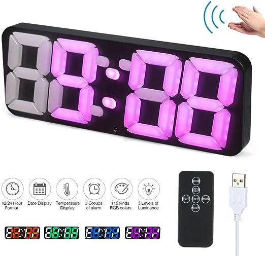 Decdeal 3D Reloj Digital de Pared LED con Mando a Distancia, Reloj ...
