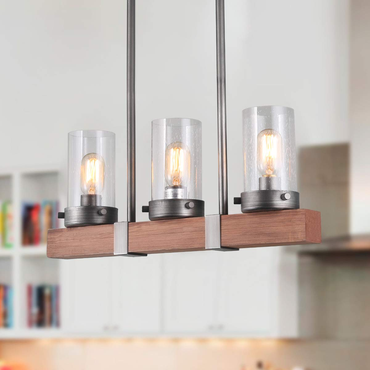 LNC Kitchen Light Fixtures Wood Farmhouse Linear Chandeliers for Dining Rooms, A03346,