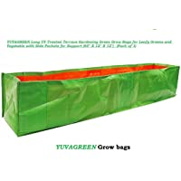 "YUVAGREEN Long UV Treated Terrace Gardening Green Grow Bags for Leafy Greens and Vegetable with Side Pockets for Support (60"" X 12"" X 12"") - (Pack of 1)"