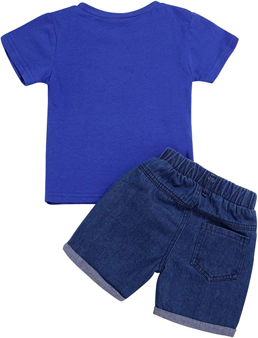 Cotrio Newborn Baby Boys 2-Pieces Outfit Set Kids Short Sleeves T-Shirt Shorts Clothes Set