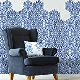 VancyTop Chinese Style Blue and White Porcelain Pattern Tile Floor Stickers for Home Bath Decorations 10pcs/set