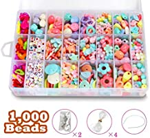 STSTECH DIY Beads Set with 4 Packs String, 24 Different Types and Shapes Colorful Acrylic DIY Beads in a Box for Children Necklace and Bracelet Crafts (Pattern01)