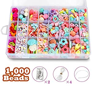 DIY Beads Set with 4 Packs String, 24 Different Types and Shapes Colorful Acrylic Beads in a Box for Children Necklace…