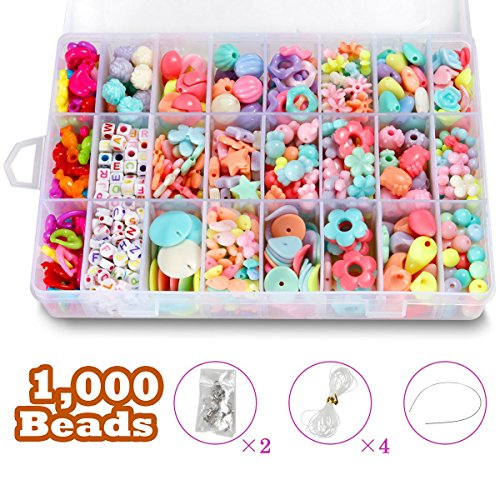 DIY Beads Set with 4 Packs String, 24 Different Types and Shapes Colorful Acrylic Beads in a Box for Children Necklace and Bracelet Crafts by STSTECH,Gift Kit for - Bead Kids Kits