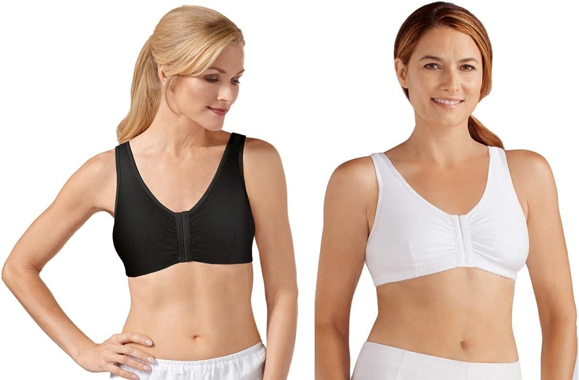 Amoena /'Frances/' Non-Wired Front Closure Soft Cotton Post Surgical Bra WHITE