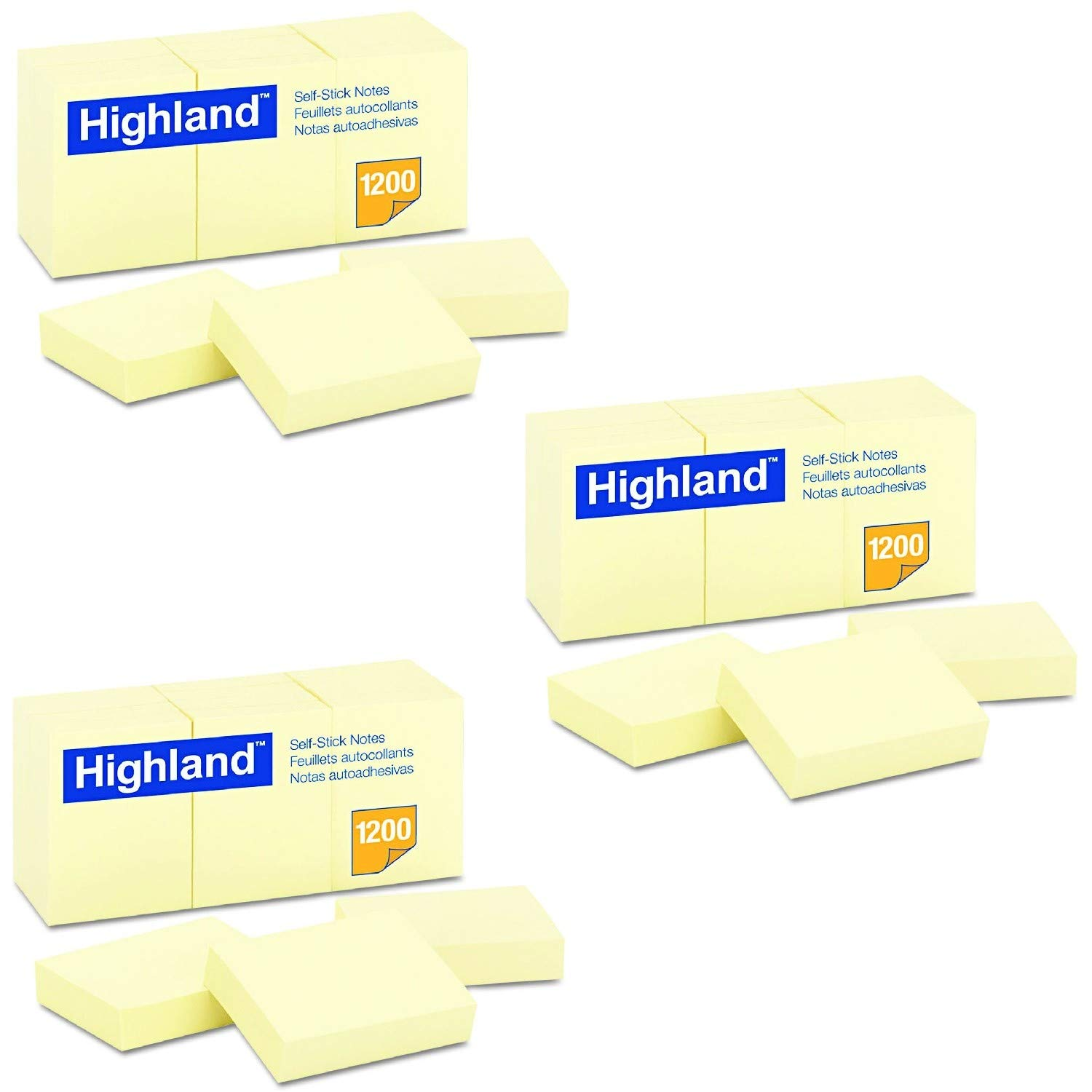 Highland 6539YW Self-Stick Notes 1 1//2 x 2 Yellow Pack of 36 100-Sheet