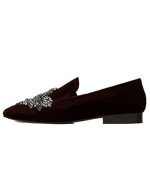 e00012bbac5 Zara Women Velvet loafers with diamanté detail 1502 301 (39 EU