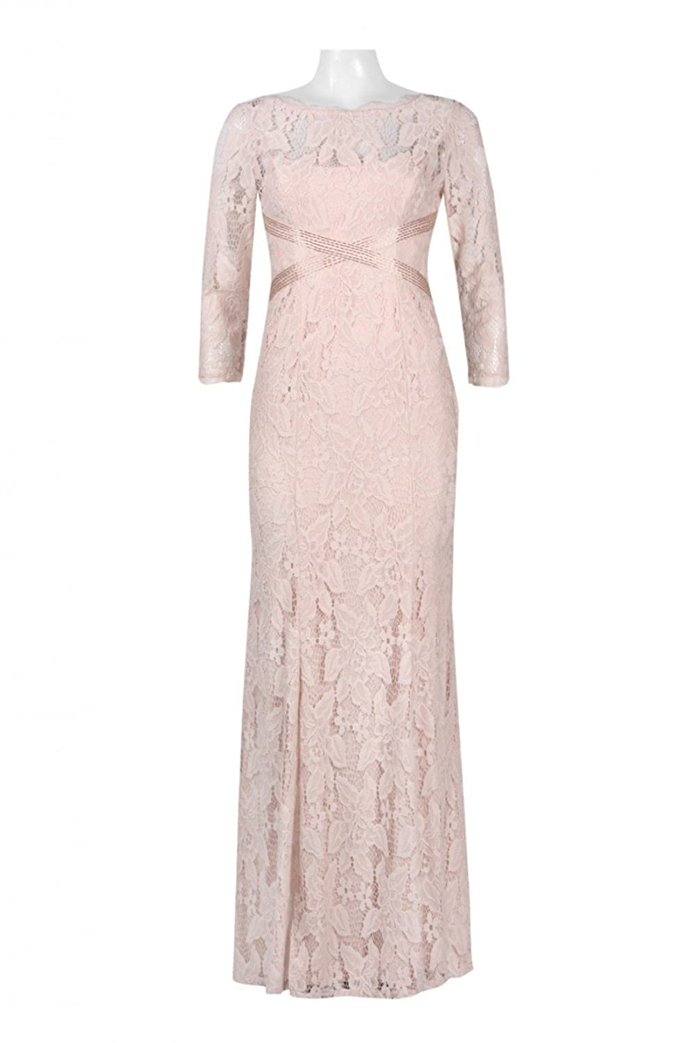 Adrianna Papell Long V-Neck Sequin Lace Gown Mulberry Size 6M at ...