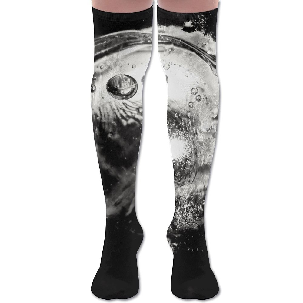 Unisex Football Socks Grayscale Photo Of Water Wine Glass Knee-Highs Long Socks