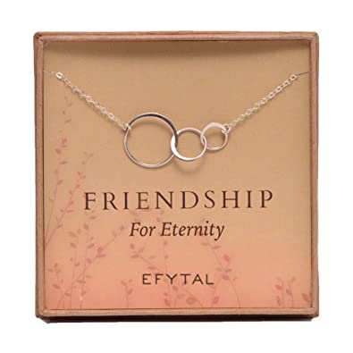 32cc362e17987 Image Unavailable. Image not available for. Color: EFYTAL Three Friend  Necklace, Sterling Silver ...