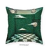 VROSELV Custom Cotton Linen Pillowcase Green Fairy Tale Illustration Walls of Grass and Clocks Wonderland Theme Print for Bedroom Living Room Dorm Forest Green Sage Green 16''x16''