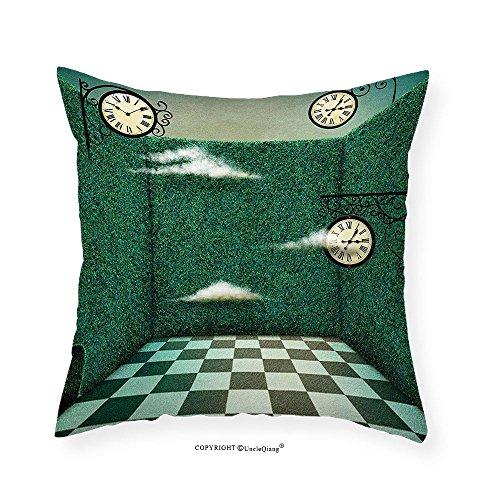 VROSELV Custom Cotton Linen Pillowcase Green Fairy Tale Illustration Walls of Grass and Clocks Wonderland Theme Print for Bedroom Living Room Dorm Forest Green Sage Green 16''x16'' by VROSELV