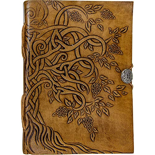 (Handmade Tree of Life Genuine Leather Bound Notebook Journal Unlined Paper For Women Men 100 Sheets Button Closure)