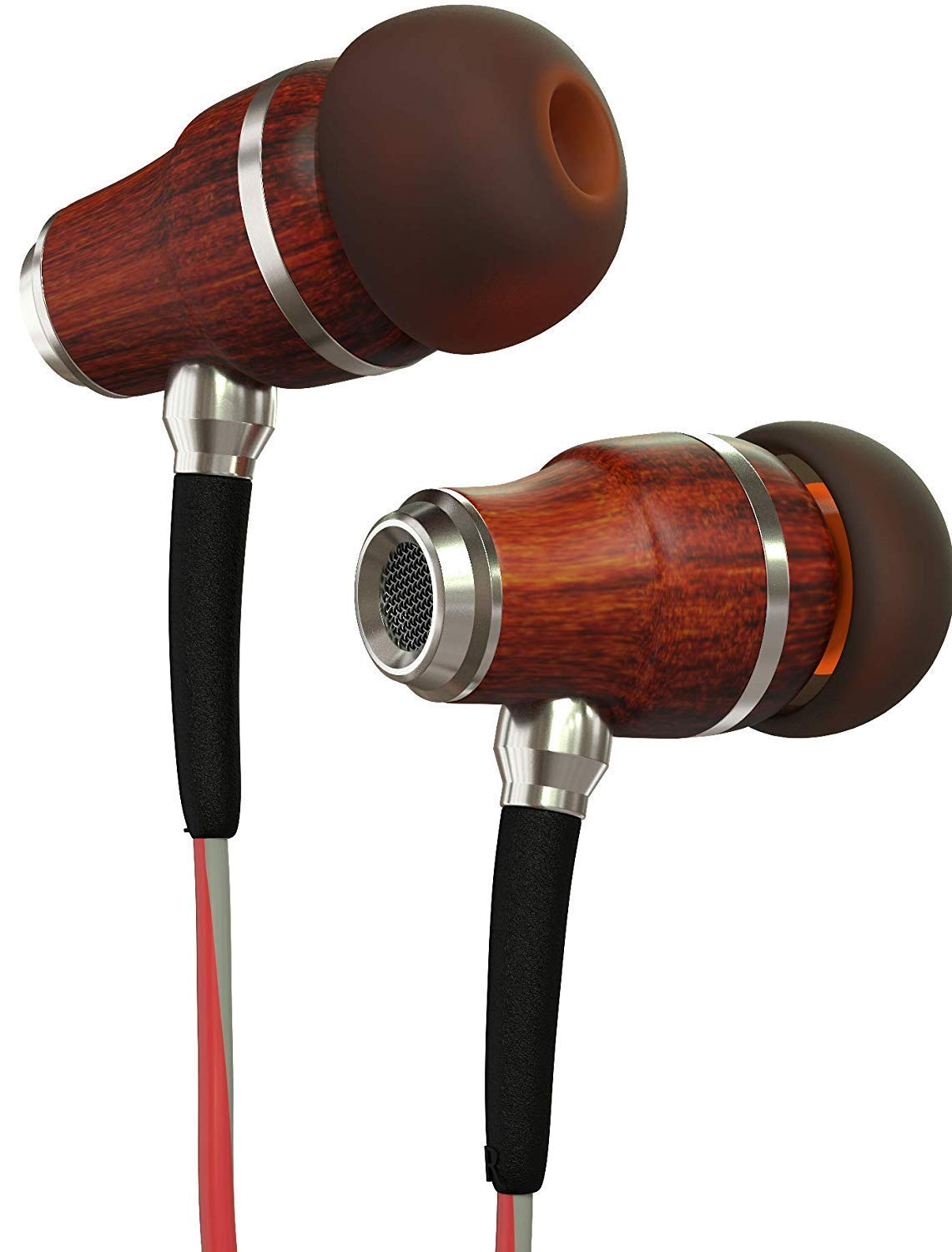 Symphonized NRG 3.0 Earbuds in-Ear Headphones, Wood Noise-isolating Earphones with Microphone Volume Control Crimson Red Hazy Gray
