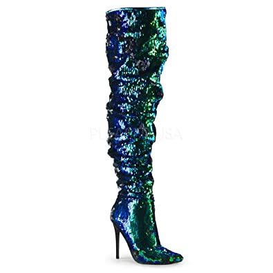 525f95a88b Amazon.com   Pleaser 5 Inch Ruched Sequined Thigh High Boot, 1/3 ...