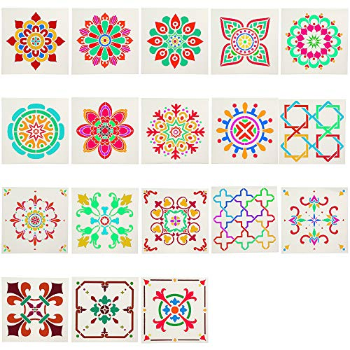 18 Pack Mandala Painting Templates Stencils for Wood Wall Furniture Floor Tiles Fabric DIY Art Projects (6x6 Inch)]()