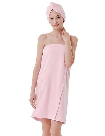 95731a01bc Zexxxy Women's Spa Towel Microfiber Bath Towel Wrap with Hair Turban Pink M