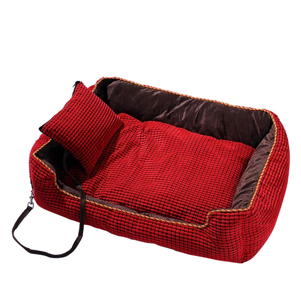 L Hxyan Dog Bed Pet Bed Dog Sofa Medium Large Removable Washable Corduroy Pearl Cotton Kennel (Size   L)