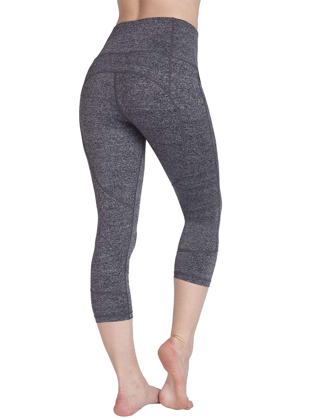 UURUN Women's Capri Workout Leggings with Pockets High Waisted Tummy Control Yoga Pants Non See Through Compression Running Capris for Fitness Gym Athletic 784 Grey S by UURUN
