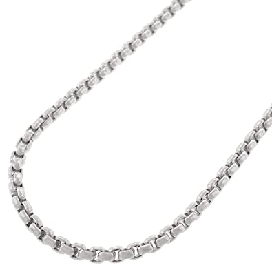 ff7d8c60a18d5 14k White Gold Round Box Cable Rolo Link Necklace Chains 2MM 2.5MM, 16