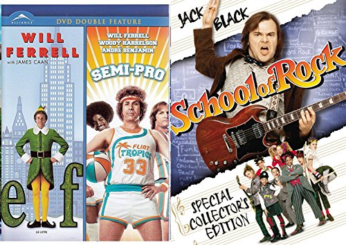 School of Rock Jack Black + Semi-Pro & Elf DVD Will Ferrel Collection Comedy Set 3 Movies (School Of Rock Jack Black)