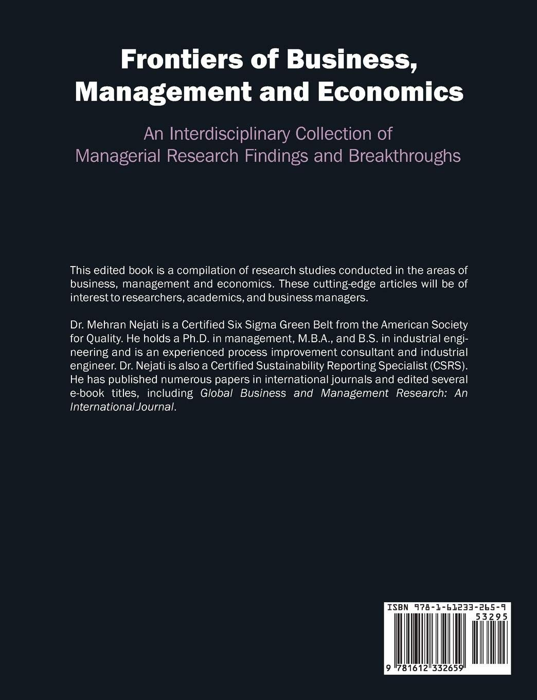 Frontiers of Business, Management and Economics: An