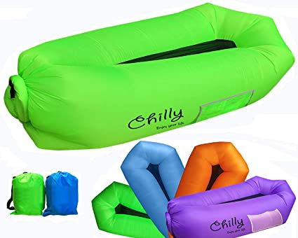 Inflatable Couch Lounger Comfortable Anti-Air Sleeping Sofa Hammock with Waterproof Compression Sack Green
