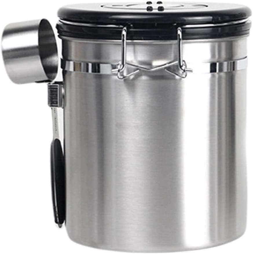 Airtight Coffee Canister Stainless Steel Coffee Storage Containers With Scoop And Day/Month Tracker,Coffee Ground Vault Jar With One Way Co2 Valve 1.5L/1.8L For Tea Flour Sugar