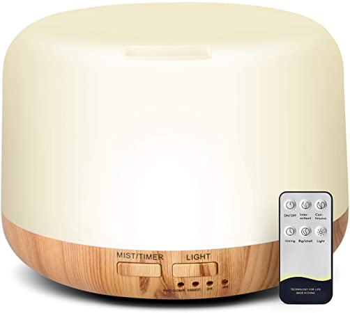 Himetsuya 300ml Essential Oil Diffuser, Wood Grain Ultrasonic Oil Diffuser Humidifier, Auto Off Quiet Aroma Cool Mist Diffuser with Remote Control,
