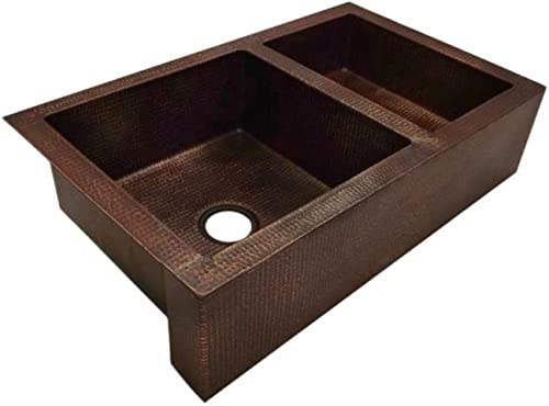 Soluna 36 Double Well Copper Farmhouse Sink with 60 40 Well Split, Rio Grande Finish – 60 40 Double Bowl Copper Kitchen Sink – Copper Kitchen Sink with Flat Apron Front – Deluxe Hammered Copper Sink