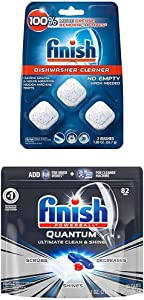 Finish in-Wash Dishwasher Cleaner: Clean Hidden Grease & Grime, 3ct and Quantum, 82ct, Dishwasher Detergent, Powerball, Ultimate Clean & Shine, Dishwashing Tablets, Dish Tabs