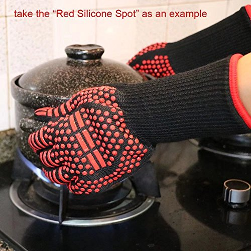 HnjPama BBQ Mitts(1 Pair) up to 500℃ (932F)- EN407 certified, cooking gloves/oven gloves/baking gloves, silicone aramid fibers, mitts for barbecue, kitchen, oven,microwave oven by HnjPama (Image #4)