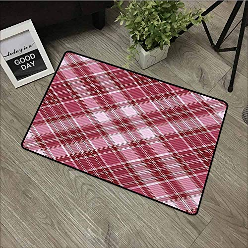 (LOVEEO Print Bath Mat,Checkered Diagonal Checkered Pattern with Strips and Rhombus in Rose Tones,Customize Door mats for Home Mat,20