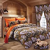20 Lakes Woodland Hunter Camo Comforter, Sheet, Pillowcase Set (Queen, Purple & Orange)