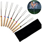 """Marshmallow Roasting Sticks Set of 8 Telescoping Rotating Skewers Hot Dog Forks 32"""", Fun Outdoor Camping Garden Patio Cookware Campfire Cooking Barbeque Sticks Forks for Kids"""