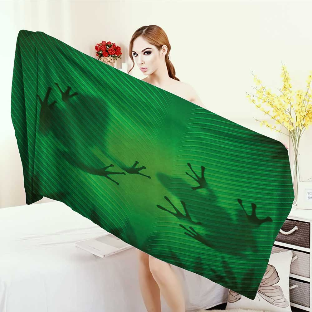 Yoga Mat Towel Animal Decor Frog Shadow Silhouette on the Banana Tree Leaf in Tropical Lands Jungle Light Games Graphic Highly Absorbent Bath Towel 55''x27.5'' Green