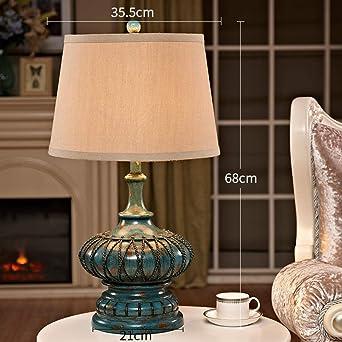 Lámpara de mesa de resina azul decorativa Lámpara de mesilla ...