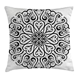 Queen Area Mandala Ethnic Asian Floral Cosmos Symbol Traditional Meditation Pattern Monochrome Print Square Throw Pillow Covers Cushion Case for Sofa Bedroom Car 18x18 Inch, Black White