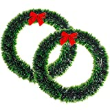 Funpa Christmas Wreaths, 2Pcs 15.7 Inch Artificial Green Madder Wreaths with Red Bowknot Door Garland for Xmas Hotel Store Home Window Decorations
