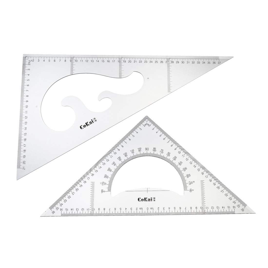 uxcell Triangle Ruler Square Set with Built-in Protractor 37mm 30/60 and 26mm 45/90 Degrees Set of 2 by uxcell
