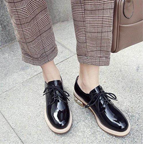 Cuir Taille Chaussures black Lacer 36To41 Oxford femmes pour Sole verni perlé Talon ggxTEAwz