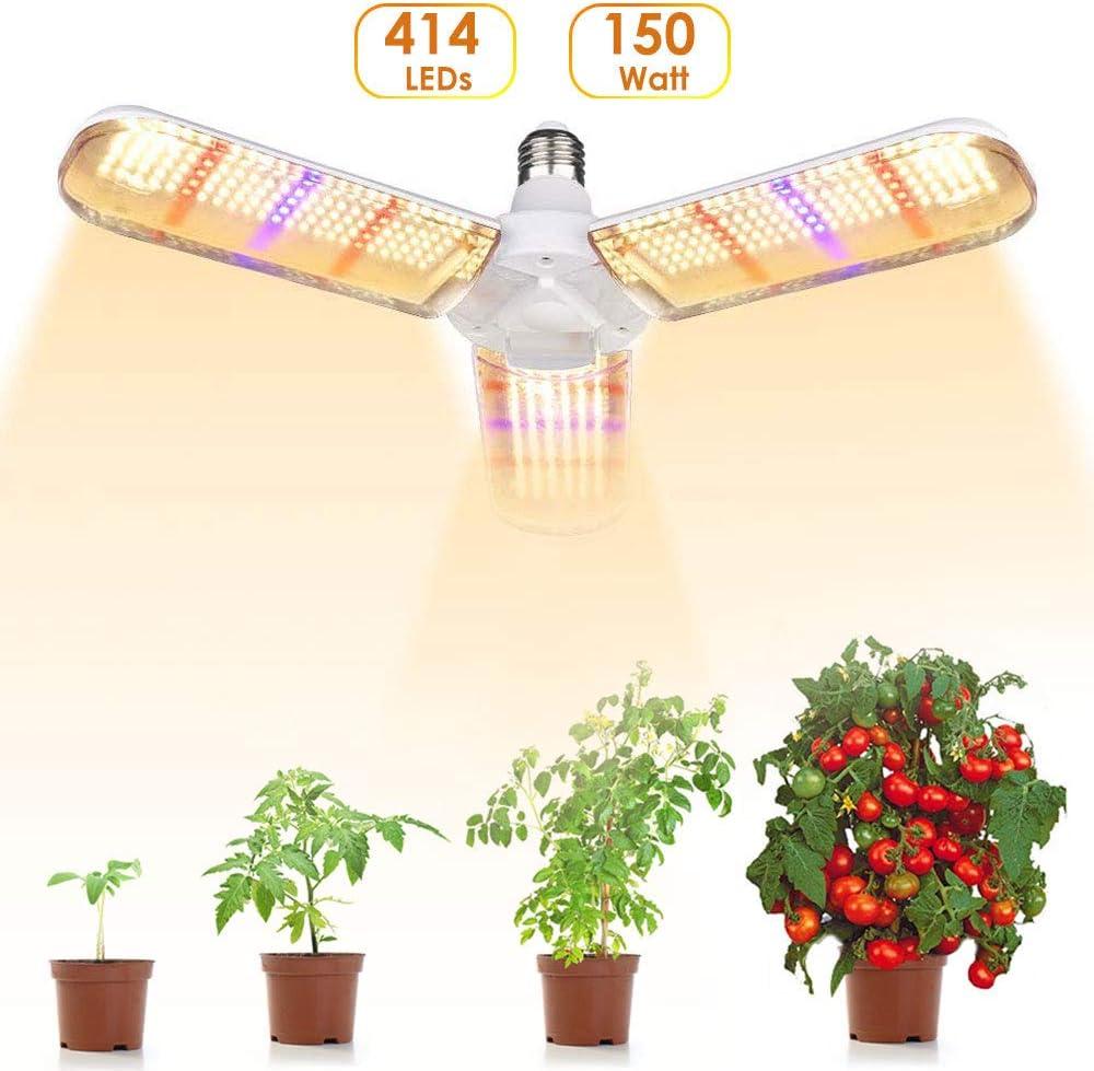 Lámpara de Cultivo de Plantas, E27 150W Lámpara LED para Plantas Sector Plant Growth Bombillas Espectro completo 180° iluminación 414 LEDs para Planta de Interior [Clase de eficiencia energética A+]