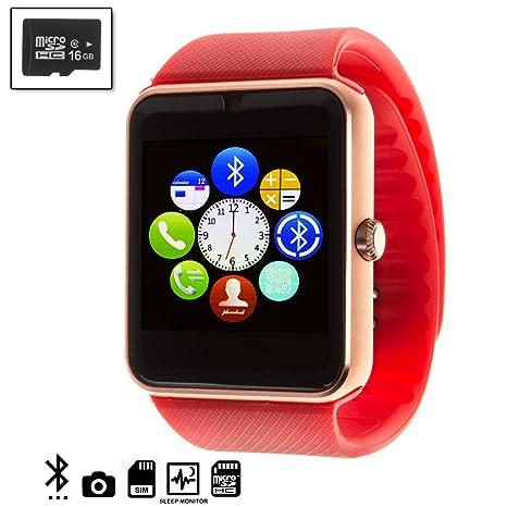 Silica DMQ237REDSD16 - Gt08 Bluetooth Watch con Micro SD de 16 GB clase10, Color Rojo