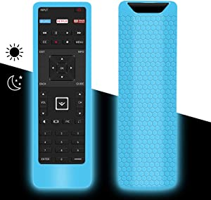 Protective Case for New Vizio XRT122 Smart TV Remote, Remote Silicone Cover Holder Grip for Vizio XRT122 LCD LED TV Remote Controller, Lightweight Anti-Slip Shockproof (Glow Blue-Glow in The Dark)