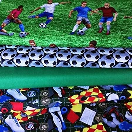 Fat Quarter Sports Football Print 100/% Craft Cotton Quilting Fabric UK