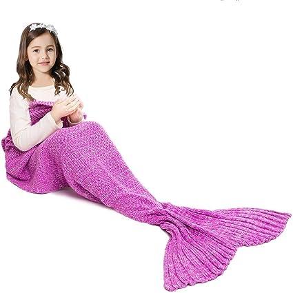 JR.WHITE Mermaid Tail Blanket for Kids
