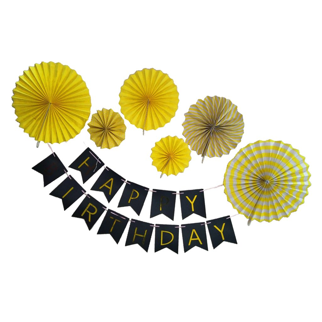 Dovewill Happy Birthday Garland Pinwheel Fans Wall Hanging Birthday Party Decoration - Yellow