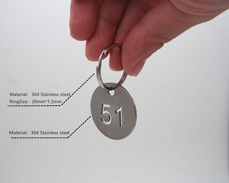 numerato portachiavi 25mm fondo a numero ID tag Key Chain 11 to 20 304/etichette in acciaio INOX chiave con anello