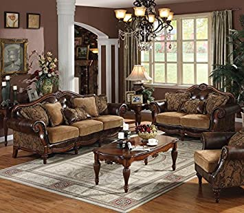 1PerfectChoice Dreena 2Pcs Leather Like PU Sofa Set and Loveseat